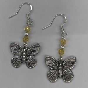 Jewelry - Butterfly Charm Dangle Earrings Yellow Accent